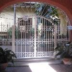 Entrance after wooden gate doors.