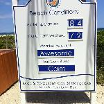 Information board at the beach entrance updated daily
