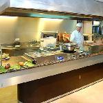 Cocina en vivo en el restaurante