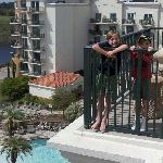 Photo overlooking the pool and hot tubs
