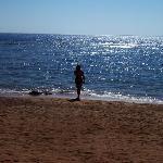 The beach/sea