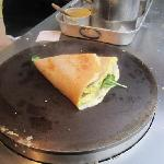 ham, Swiss cheese, egg, and spinach crepe