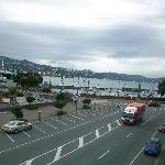 View from the balcony onto Oriental Parade and the waterfront