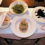 Risotto al funghi, Rucola salad, hot chocolate cake