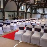 The Tithe Barn set up for our wedding ceremony