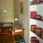 Traditional crafts displayed in the room