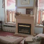 Oak suite seating area w/ fireplace...