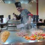 Entertaining chef at the Japanese Restaurant