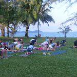 Yoga on the beach front