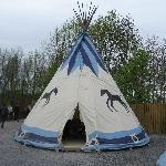 one of the wigwams in the American village