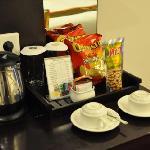 coffee and tea above mini bar