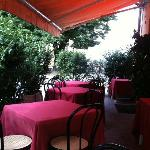 The sheltered seating area outside La Torretta
