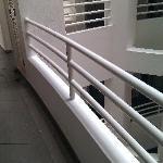 The railing design in the communal area