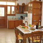 The inside kitchen with dining room