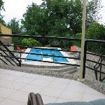 The terrace oversees the pool