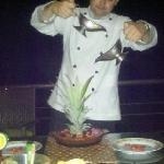 Chef Chris Flambeing flan!