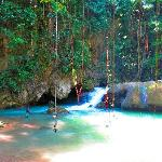 You can swing into the falls pool's