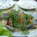 steamed fresh fish from the Mekong