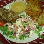 "German ""Wurstsalad,"" Potato Pancakes and Applesauce"