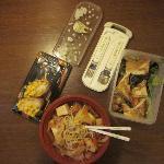 Take away: grilled tofu salad, vegetable and tofu ramen with kimuchi, inari sushi with corn.