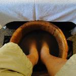 Foot reflexology @ the hotel's lobby. Skillful therapist.