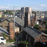 レンガ造りの煙突のある風景