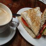 BLT focaccia sandwich and Latte