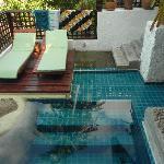 Blick vom Schlafzimmer auf den privaten Pool