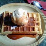 Plain Waffle with chocolate sauce and Ice Cream