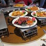 food keep warm on candle- heated plate