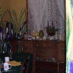 handpainted iris on the dining room walls