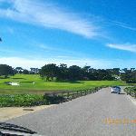道路のすぐ横のゴルフ場
