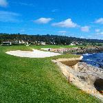 ペブルビーチ・ゴルフリンクス 18番グリーン横のバンカー