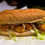 Delicious fried shrimp po'boy