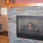 Fireplace at reception area