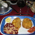 Hake Filets (very tasty) with pot of beans/rice