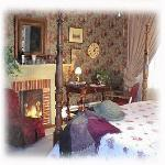 The Rose room is romantic and comfortable, with a big closet, private bath, desk to work on and