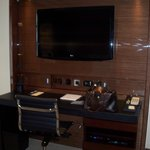 great tv and desk area