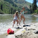 Play on white sandy beaches on the Salmon river minutes from the lodge