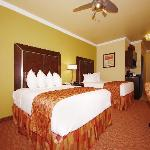Each guest room includes a flat screen TV, microwave, mini-refrigerator, ceiling fan, and large