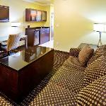 Our gorgeous 2-Room King Suite offers a flat screen TV, microwave, mini-refrigerator, ceiling fa
