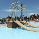The splash pool/pirate ship pool