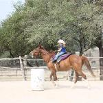 Seven year old barrel racing