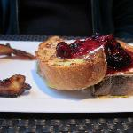 French toast with berry compote and local bacon