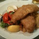 Pub style fish in beer batter with chips and salad- good value at AUD 17.90