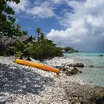 les kayaks à dispo, devant la pension