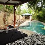 Hanging beds by the pool