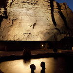 Cliffside Pools at Night at Ojo Caliente Mineral Springs