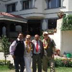 Outside hotel with Puru(manager) and Fanindra  of happy treks