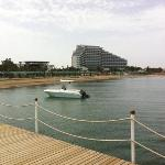 view from water sports jetty back to hotel